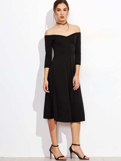 Black Off The Shoulder Zipper Back A Line Dress