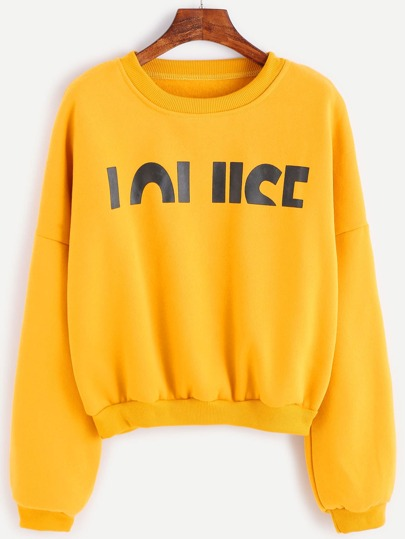 Yellow Letter Print Drop Shoulder Seam Sweatshirt