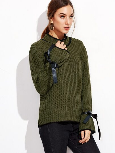 Army Green Contrast Trim Chunky Knit Sweater