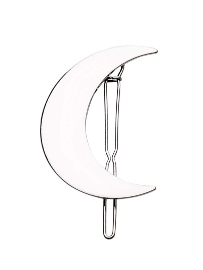 Silver Plated Polished Moon Hair Clip