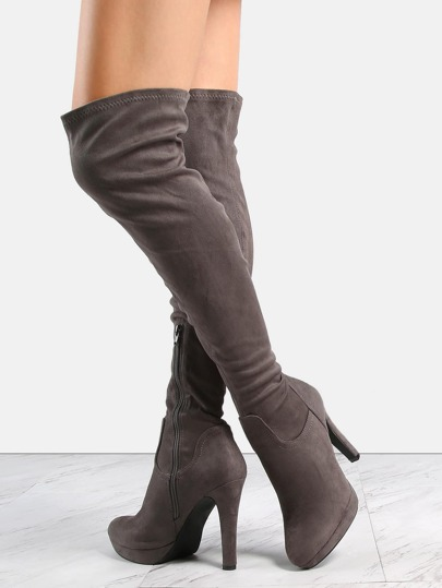Faux Suede Stiletto Platform Boots GREY