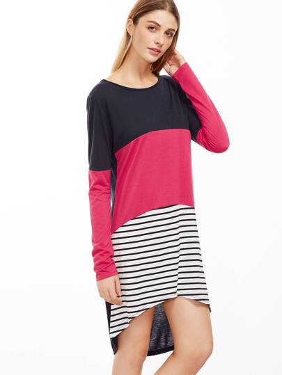 Color Block Striped High Low Tee Dress