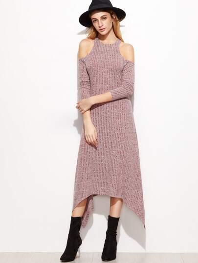gerippte Asymmetrische Kleid Cut-Outs am Schulter-burgund rot