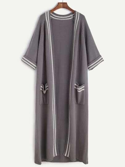 Grey Striped Trim Half Sleeve Longline Sweater Coat