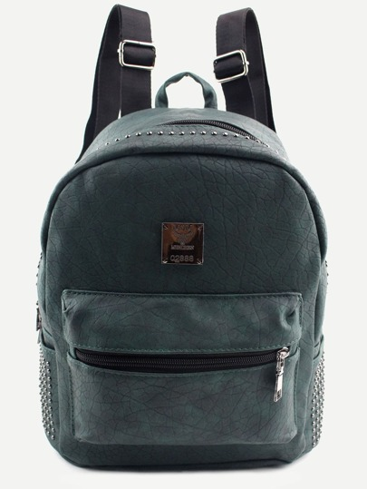 Dark Green PU Logo Patch Front Pocket Studded Backpack