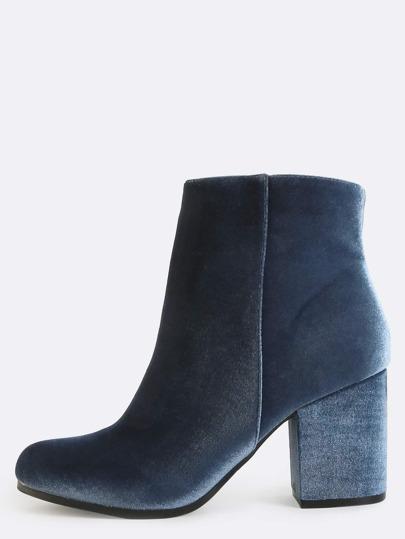 Chunky Heel Velvet Ankle Boots ICE BLUE