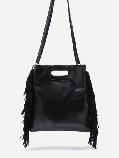 Black Faux Leather Fringe Tassel Crossbody Bag