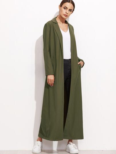 Olive Green Notch Collar Longline Duster Coat