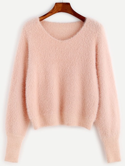 Pink Scoop Neck Fluffy Sweater