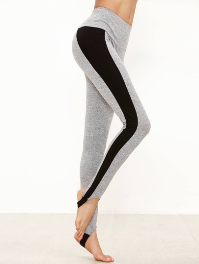 Colorblock Wide Waistband Foot Strap Leggings
