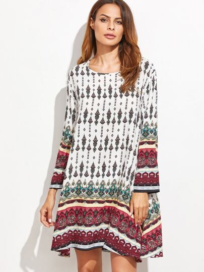 White Tribal Print Long Sleeve Shift Dress