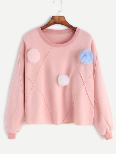 Pink Drop Shoulder Pom Pom Trim Sweatshirt