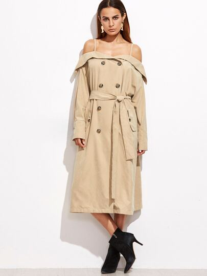 Khaki Foldover Cold Shoulder Belted Trench Coat
