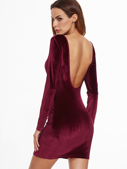 Burgundy Open Back Velvet Bodycon Dress