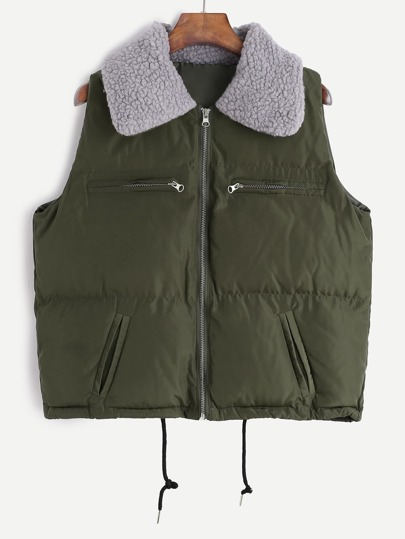 Army Green Drawstring Hem Quilted Vest