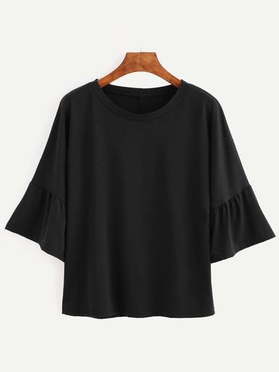 Black Bell Sleeve Ruffle Hem T-shirt