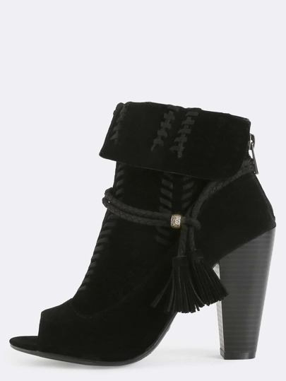 Stitched Suede Boho Booties BLACK
