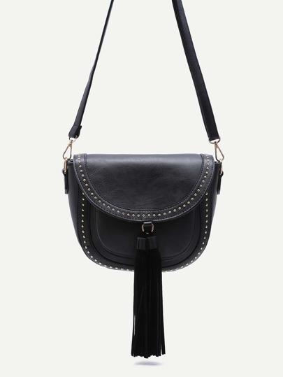 Black Studded PU Tassel Trim Flap Crossbody Bag