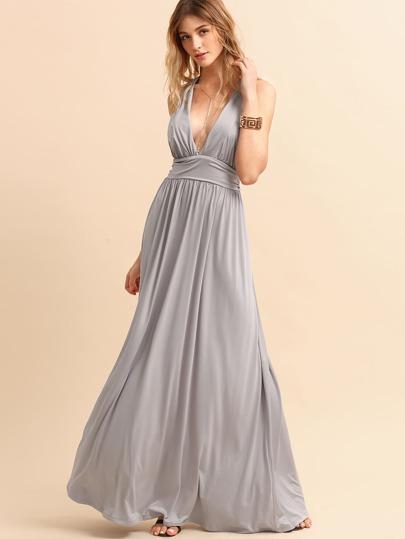 Grey Deep V Neck Crisscross Back Belted Dress