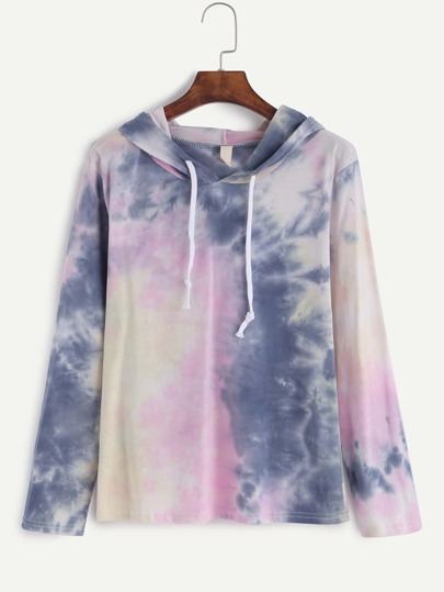 Tie Dye Drawstring Hooded T-shirt