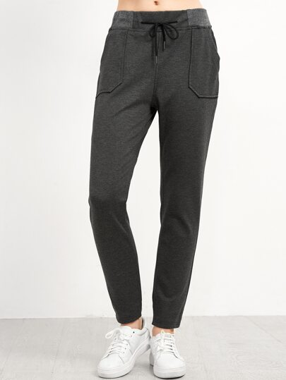 Dark Grey Pockets Drawstring Pants