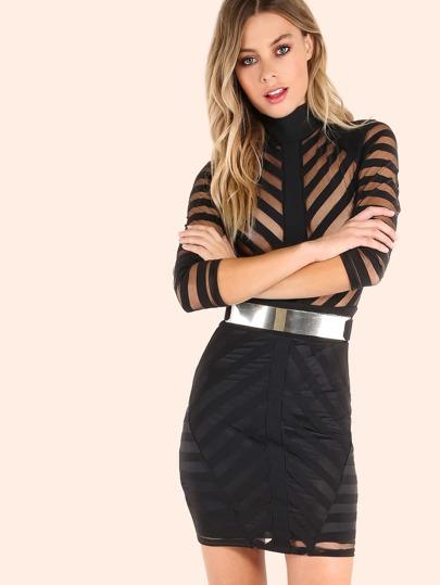 Mesh Stripe Turtleneck Bodycon Dress BLACK