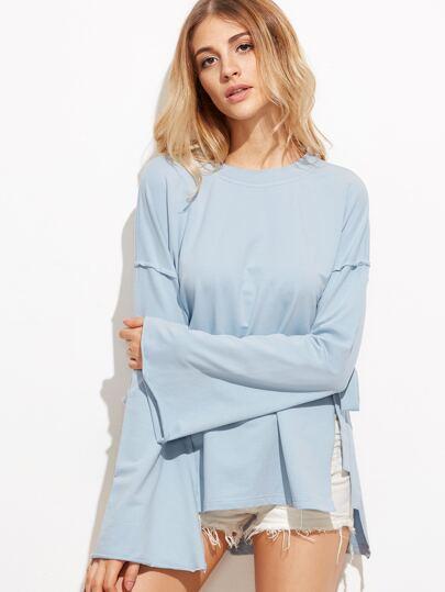 Blue Side Tie High Low Sweatshirt