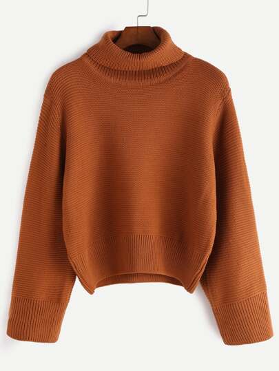 Khaki Turtleneck Loose Sweater