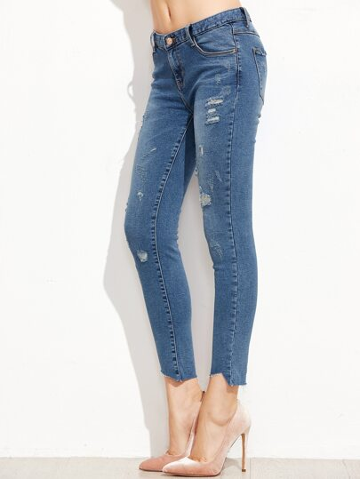 Blue Ripped Raw Hem Ankle Jeans