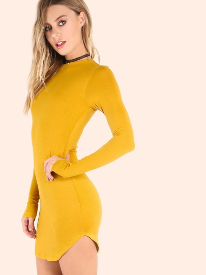 Sleeved Mini Bodycon Dress MUSTARD