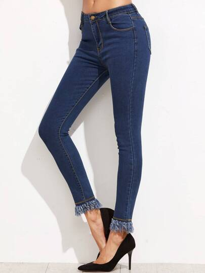 Pantalons en denim collants avec bouton - bleu