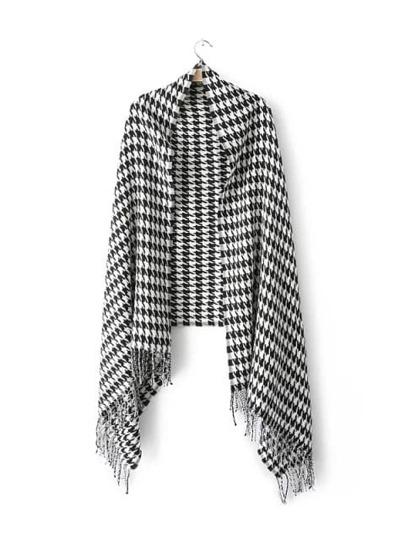 Черно-белая Хаундстут Fringe шаль шарф