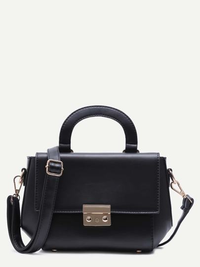 Black PU Flap Handbag With Strap