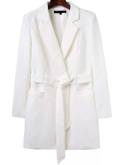 White Single Button Long Blazer With Tie