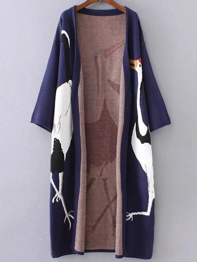 Navy Crane Pattern Drop Shoulder Long Cardigan