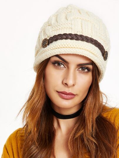 Beige Textured Braided Band Knit Beanie Hat