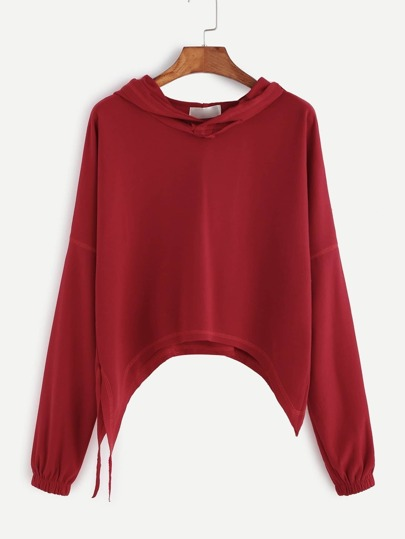 Red Drop Shoulder Hooded Sweatshirt