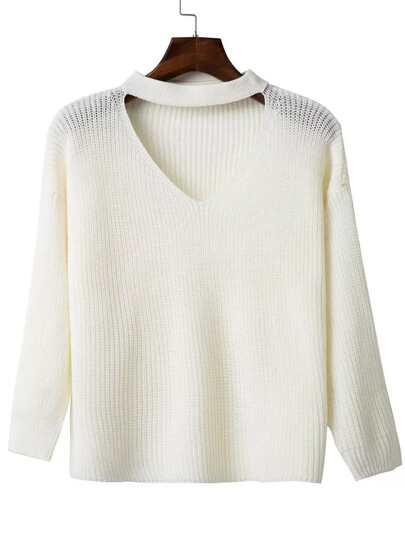 Jersey escote V con gargantilla - blanco
