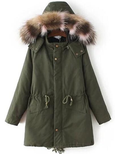 Abrigo con capucha de piel sintética y - verde militar