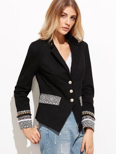 Black Single Breasted Blazer With Geo Jacquard Detail