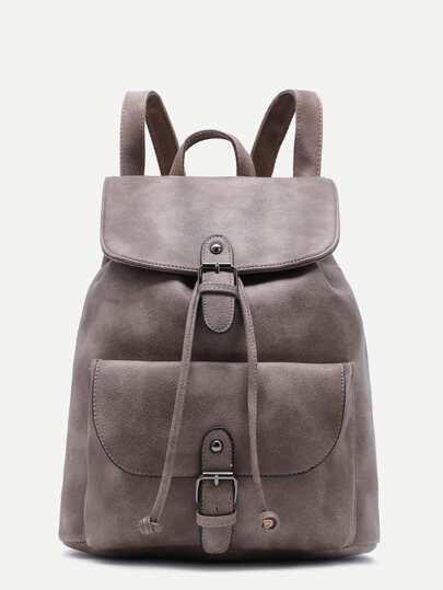 Серый модный рюкзак на кулиске