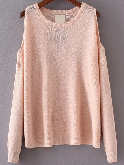 Pink Round Neck Open Shoulder Knitwear