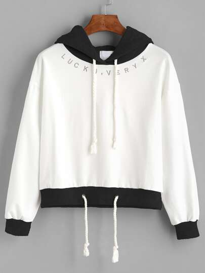 White Contrast Hem Drawstring Hooded Sweatshirt