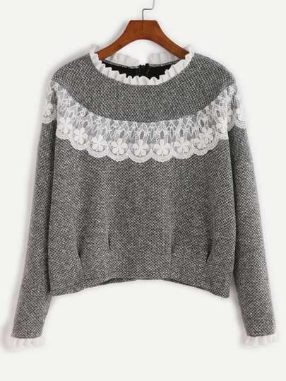 Grey Contrast Lace Ruffle Trim Sweatshirt