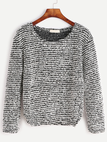 Contrast Stripe Curved Hem Shaggy Sweater