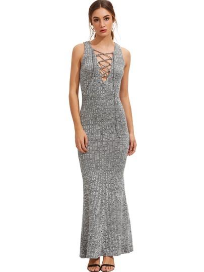 Grau-Sleeveless schnüren sich oben Maxi Kleid