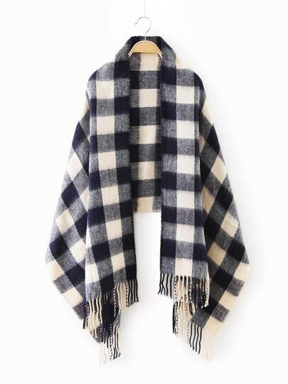Navy Checkered Fringe Edge Scarf