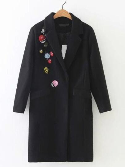 Black Cartoon Embroidered Pockets Coat