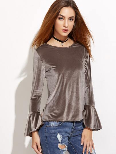 Grey Bell Sleeve Zipper Back Velvet T-shirt