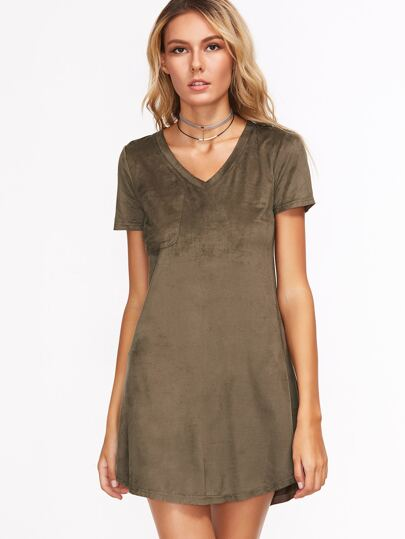 Olive Green Pocket Front Curved Hem Tee Dress
